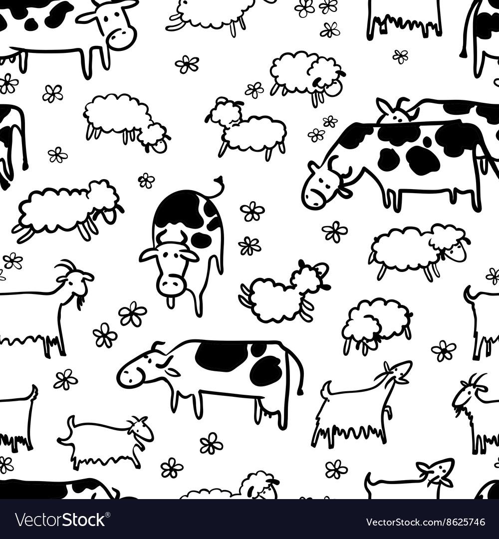 Farm livestock seamless pattern vector image