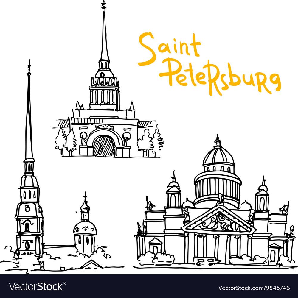 Sketching of Saint Petersburg vector image