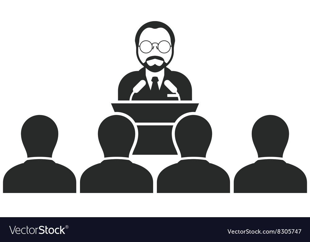 Speaker or politician at rostrum - seminar vector image