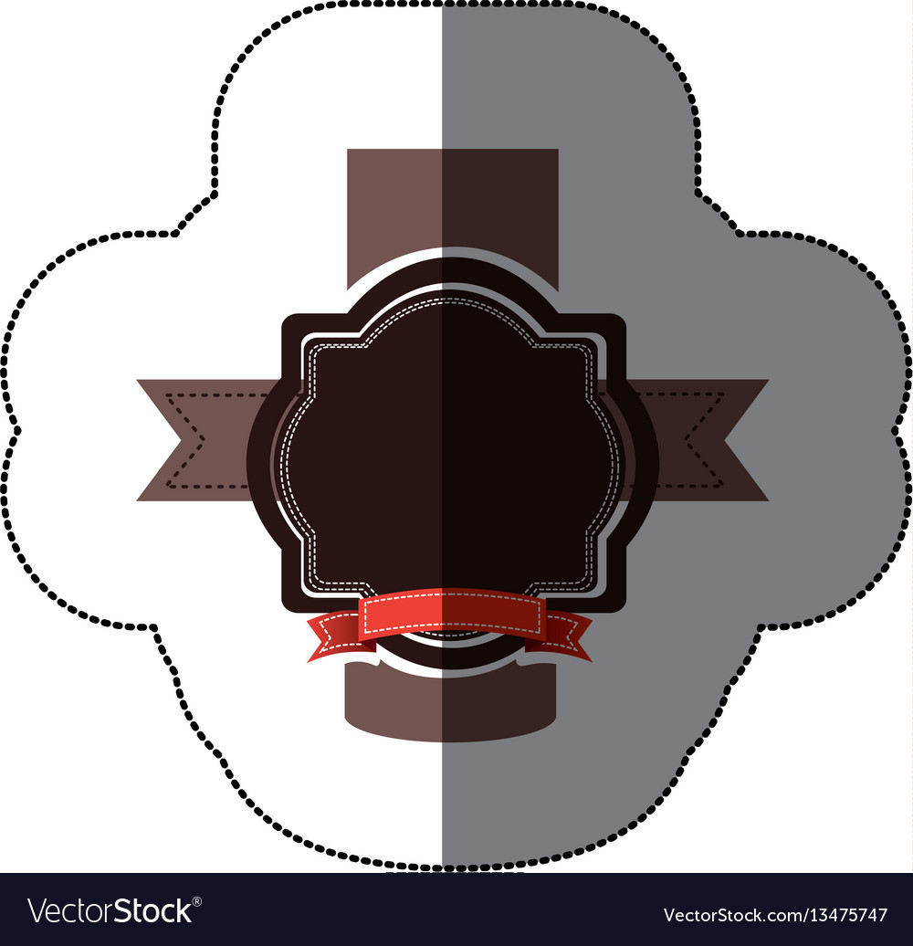 Sticker realistc black heraldic ornament vector image