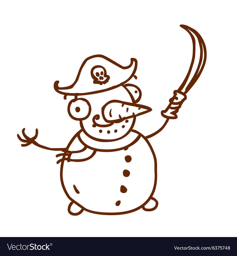Hand Drawn Pirate Snowman vector image