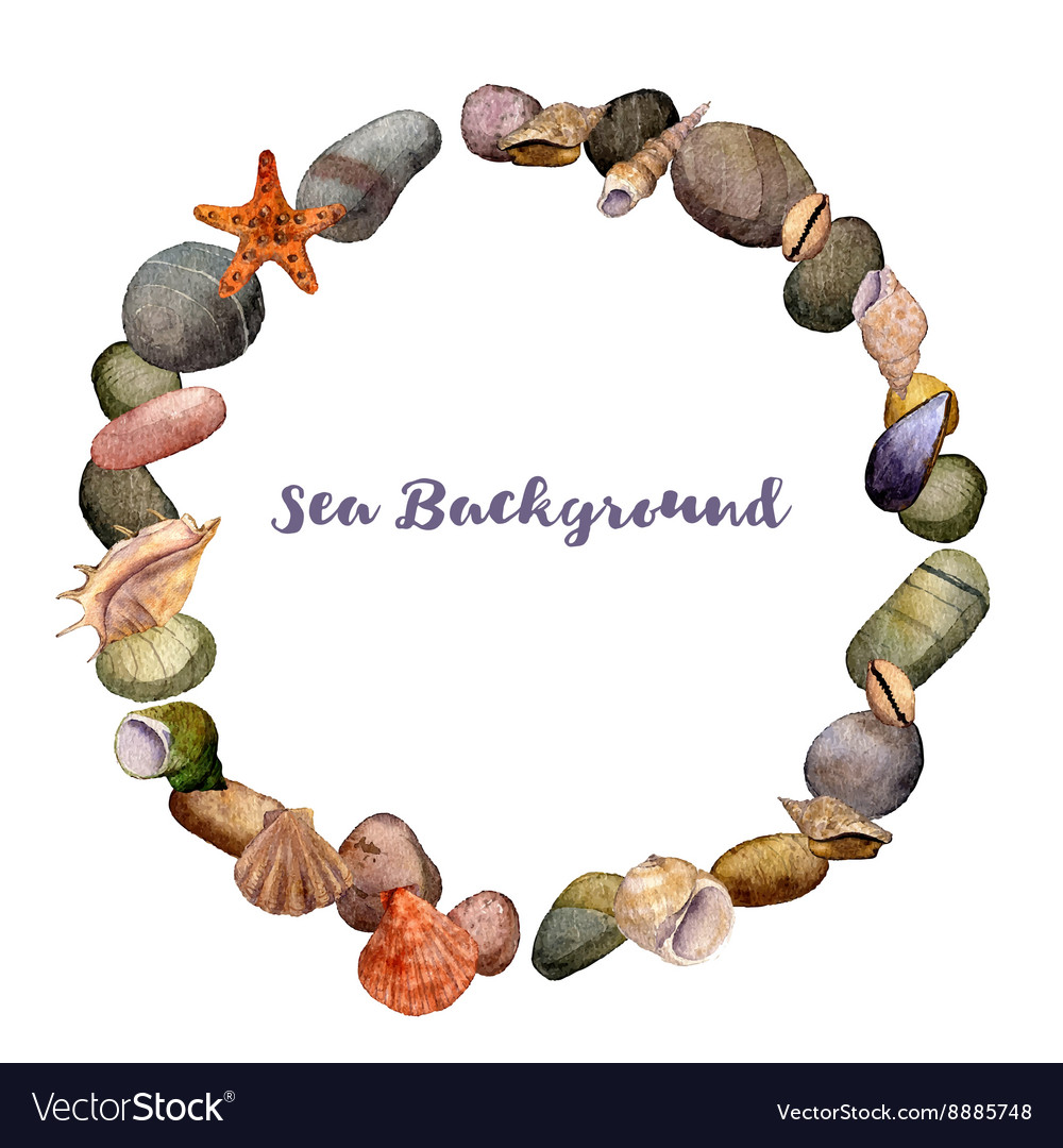 Round frame with watercolor drawing shells vector image