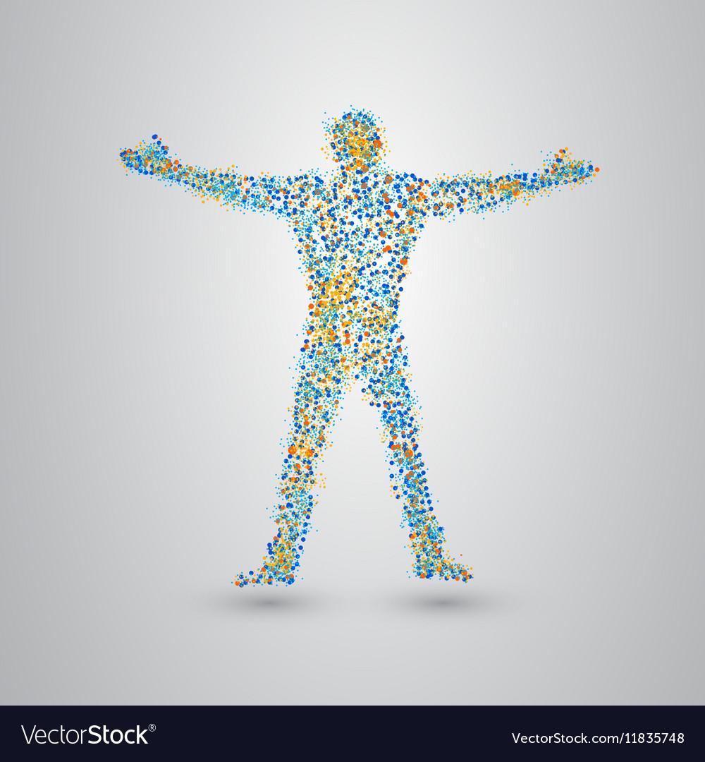 Standing man of many small circles vector image