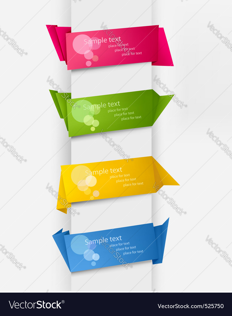 Set with five origami tags Vector Image