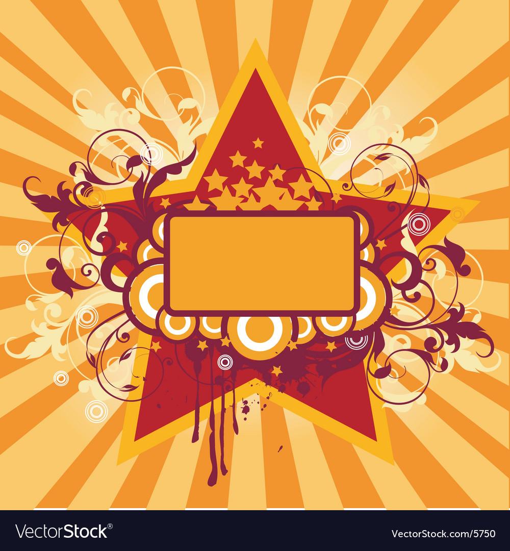 Grunge star frame vector image