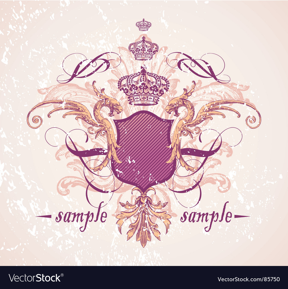 Vintage shield and crown vector image