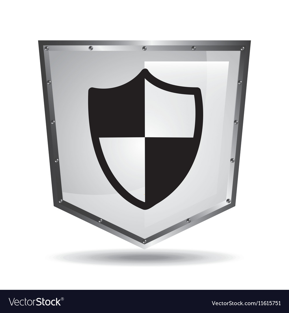 Protection security symbol shield steel icon vector image