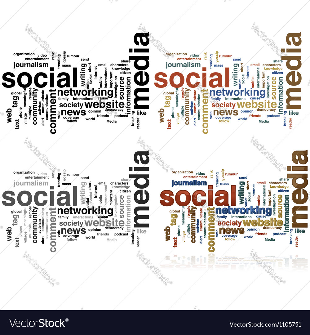 Social Media word cloud vector image