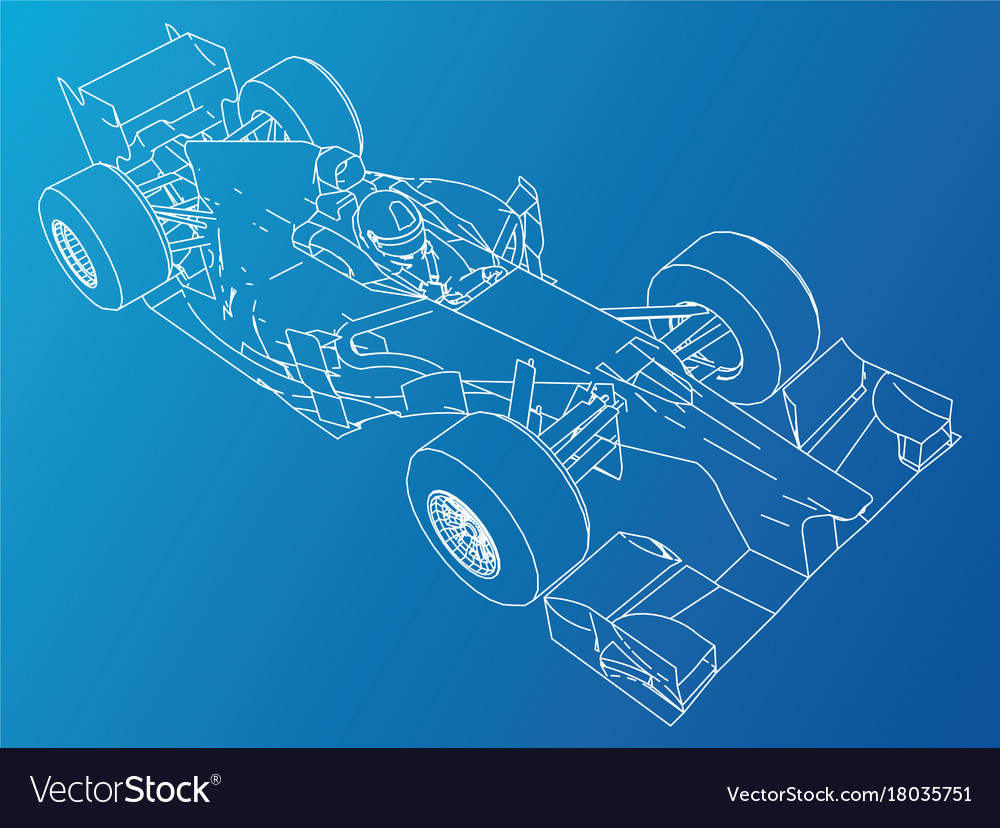 Sport race car abstract drawing tracing Royalty Free Vector