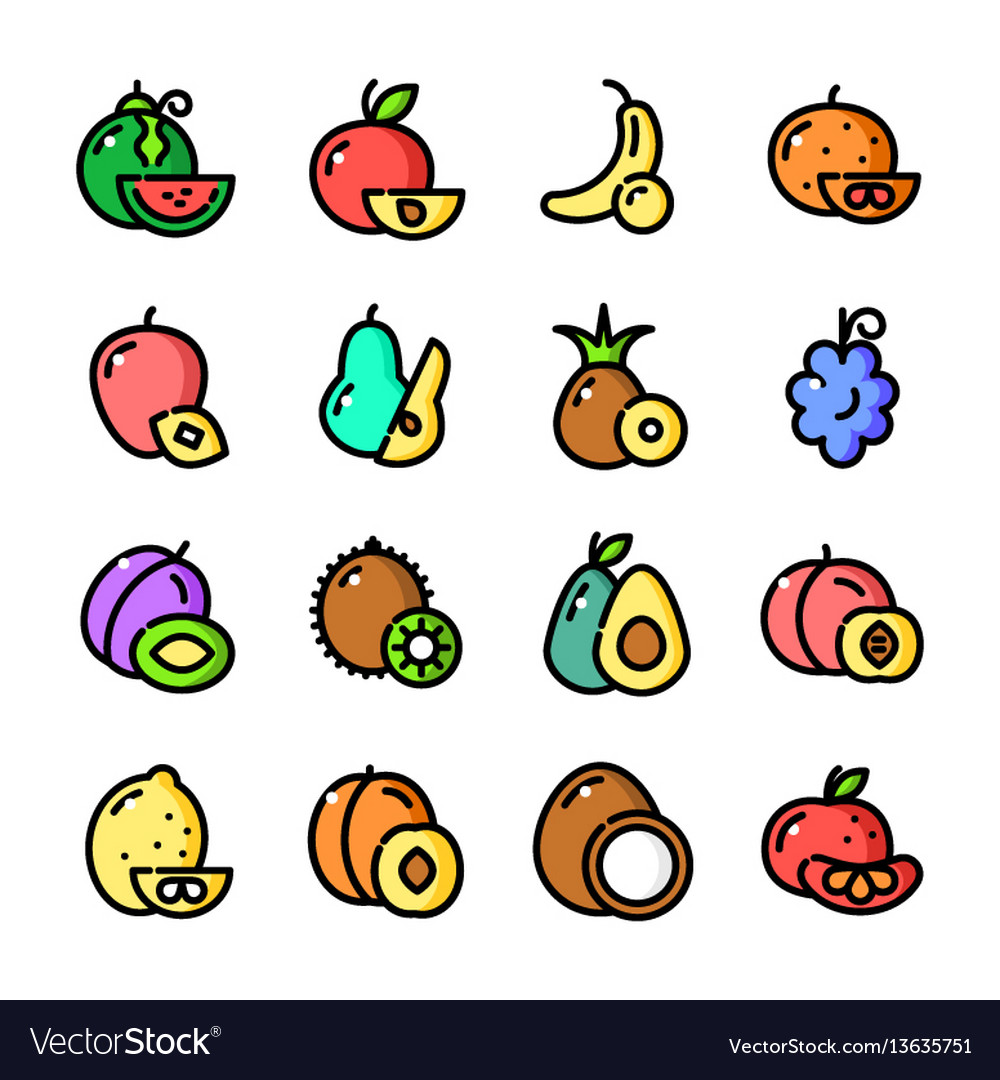 Thin line fruits icons set vector image