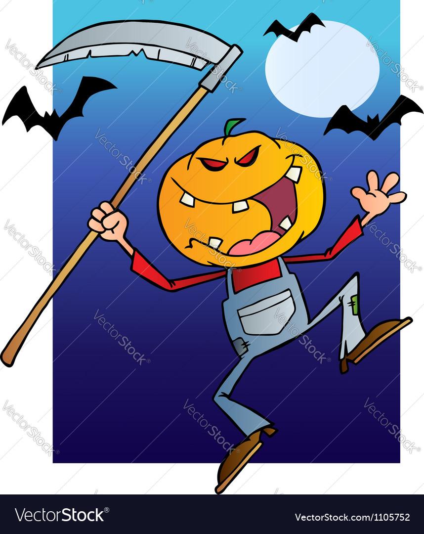 Halloween Pumpkin Head Jack With A Scythe And Bats Vector Image