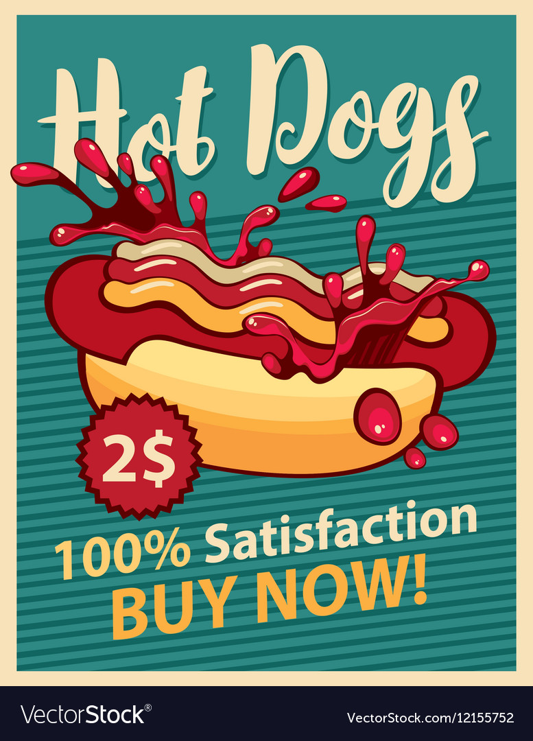 Hot dog and ketchup vector image