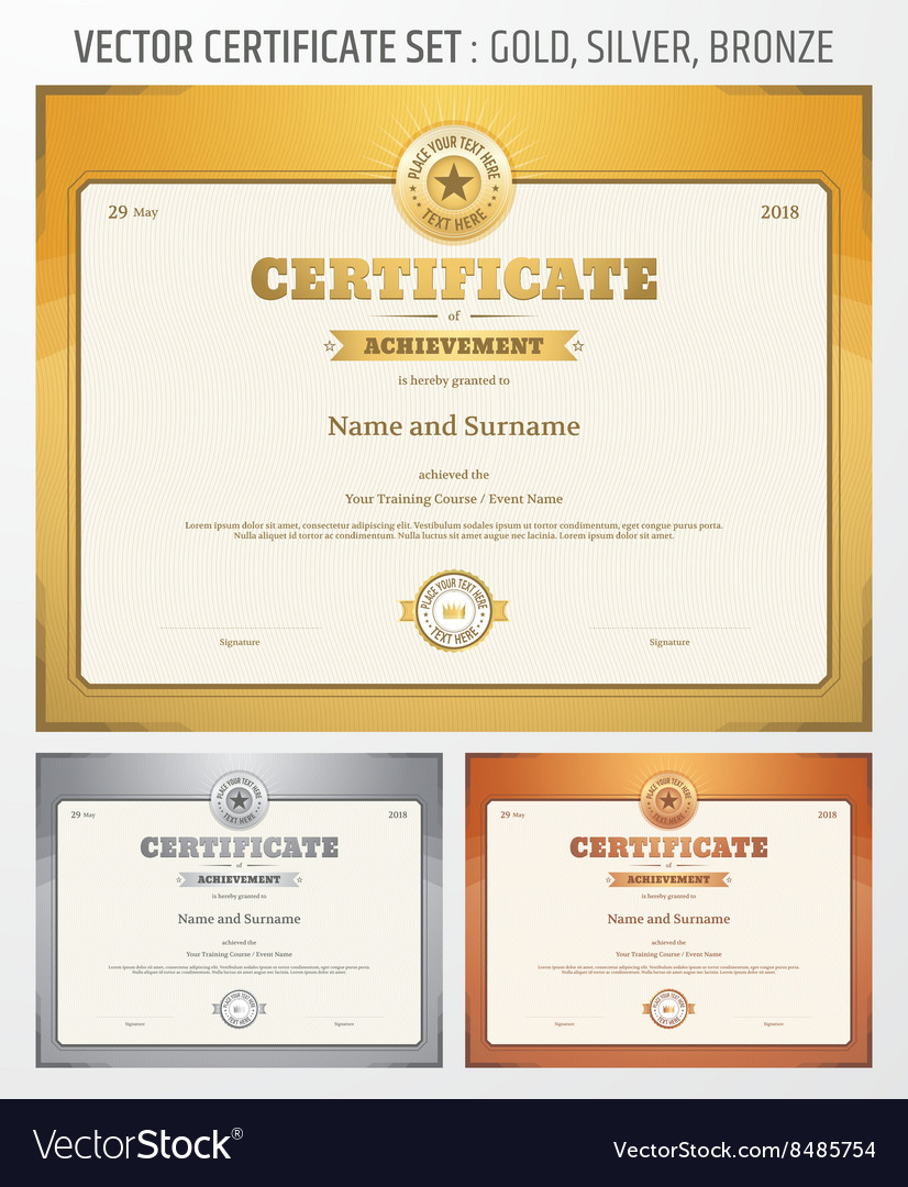 Certificate achievement set gold silver bronze vector image certificate achievement set gold silver bronze vector image yadclub Image collections