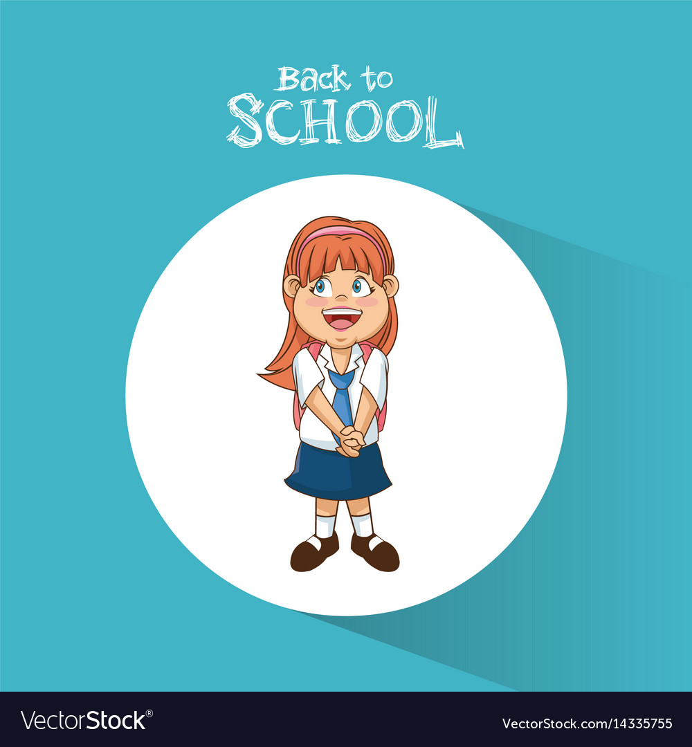 Back to school student girl diadem smile uniform vector image