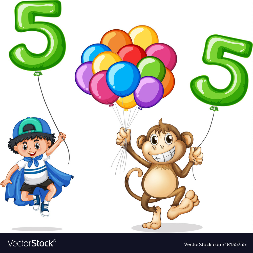 Boy and monkey with balloon number five vector image