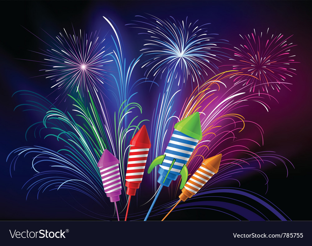 Fireworks and rockets vector image