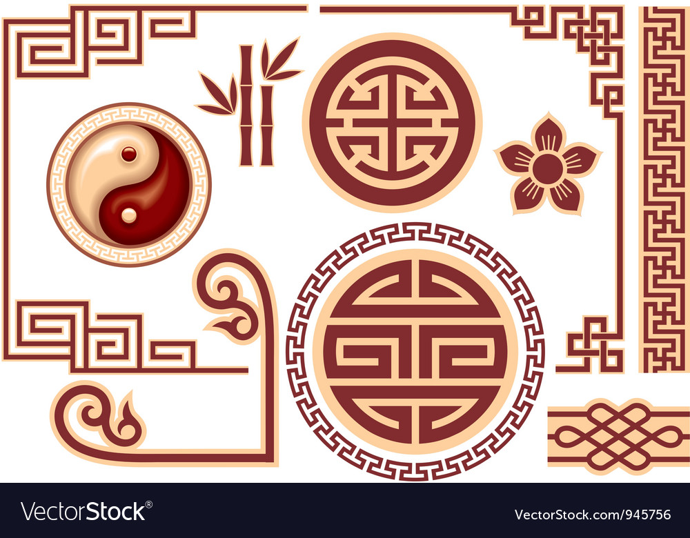 Set of Chinese Oriental Design Elements vector image