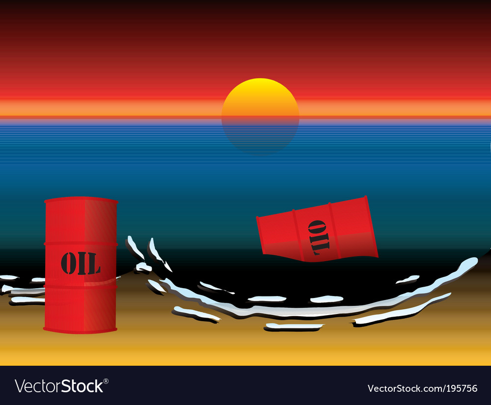 oil barrel vector. Oil Slick Barrel Sun Set