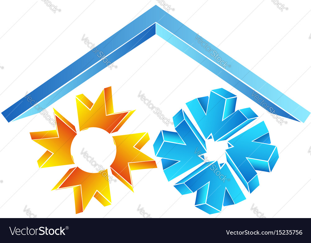 Sun and snowflake under the roof symbol vector image