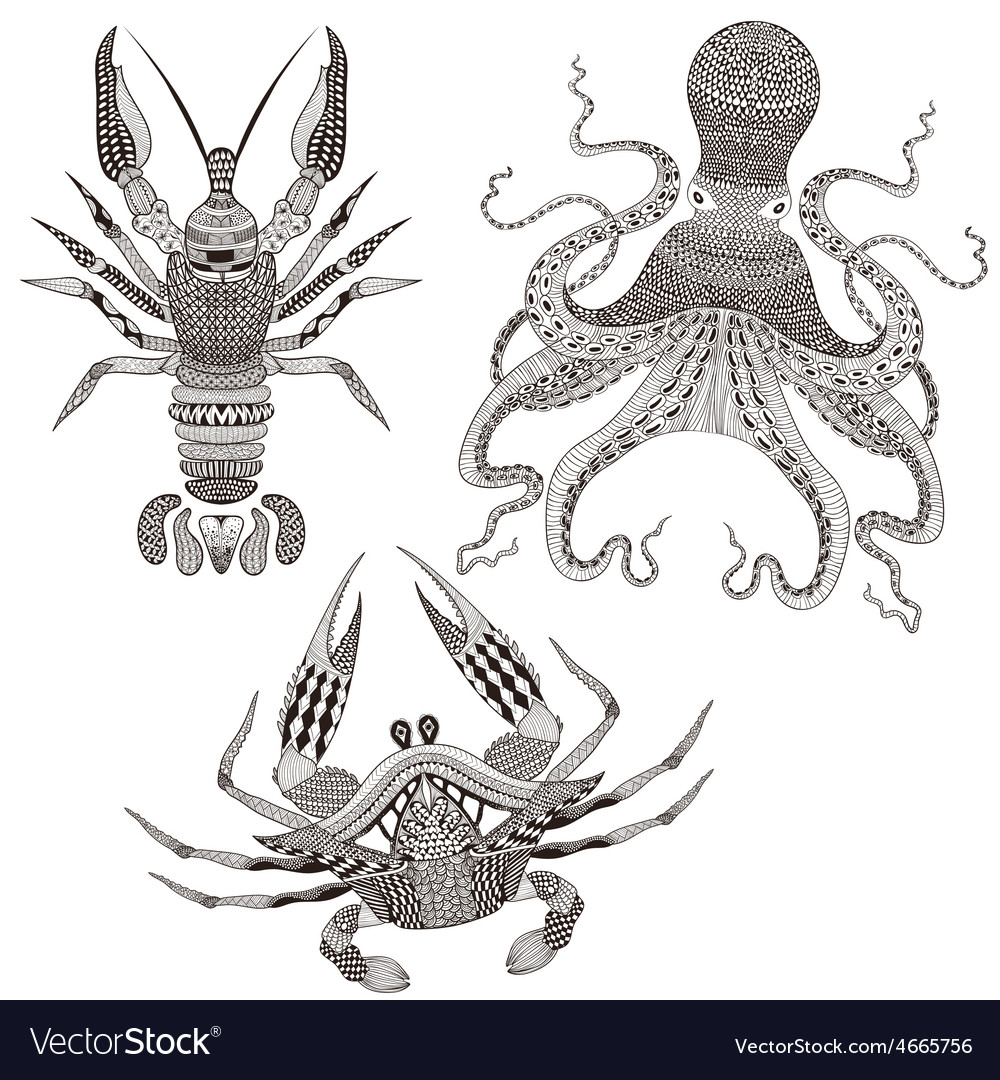 Zentangle stylized Octopus King Crab Crayfish Hand vector image
