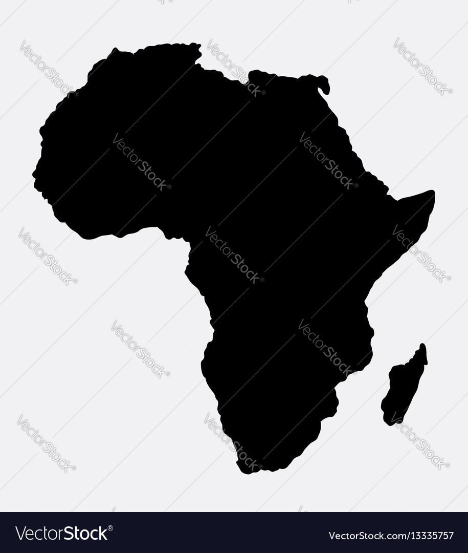 Africa islad map silhouette vector image