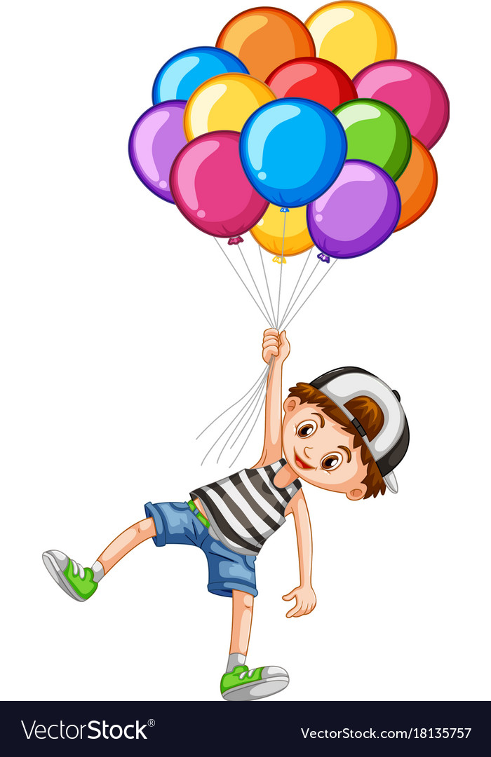 Cute boy and bunch of balloons vector image