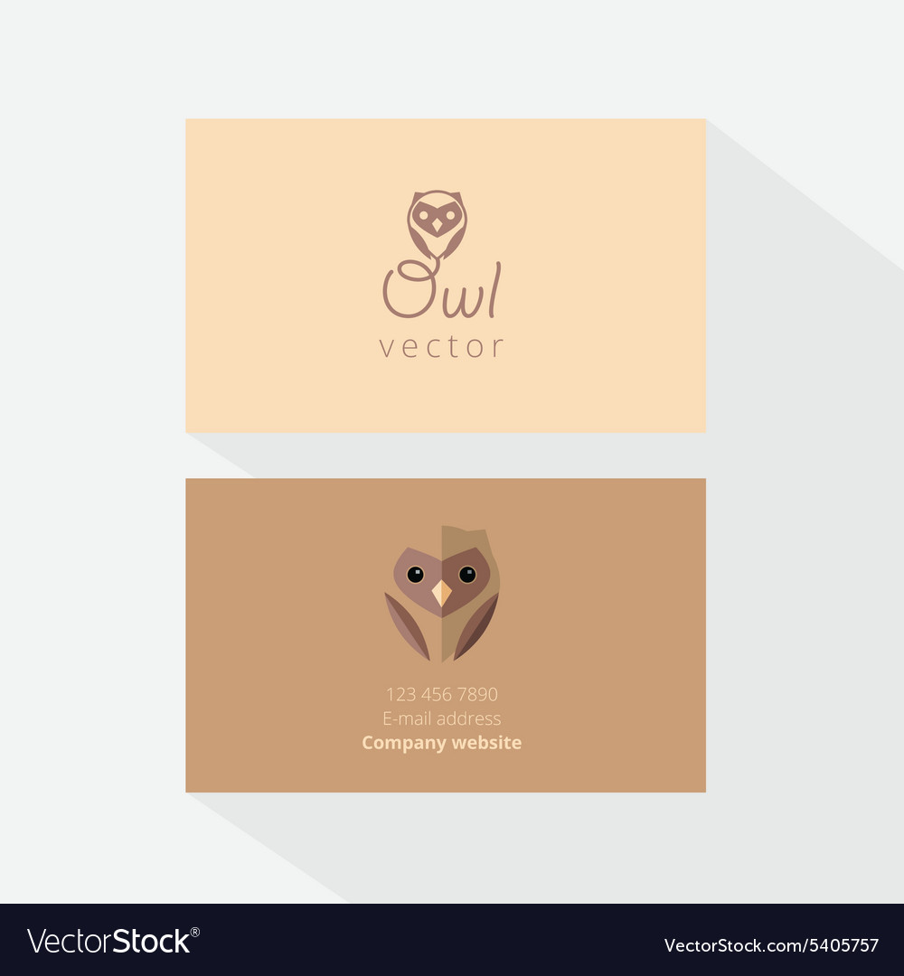 Owl Business Card Template Royalty Free Vector Image