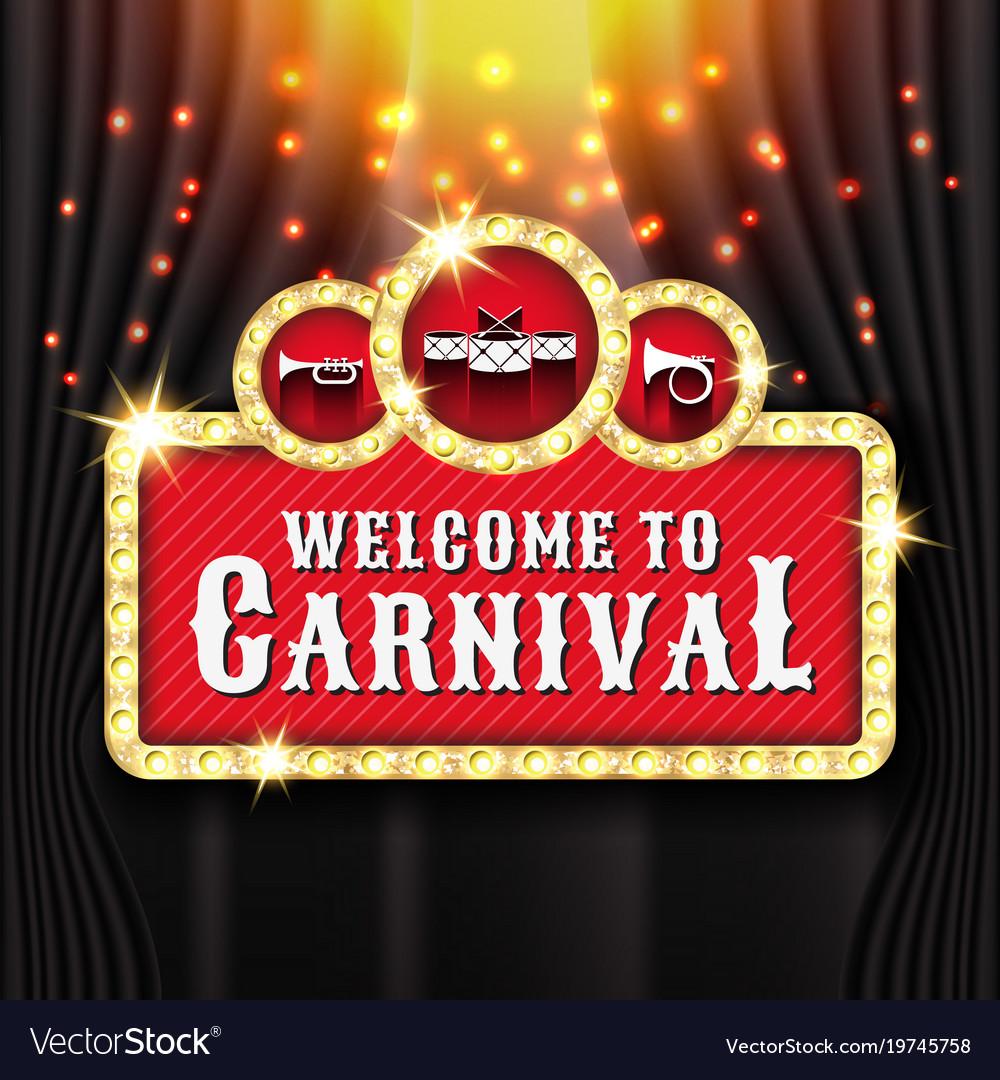 Carnival banner background design with light bulb vector image