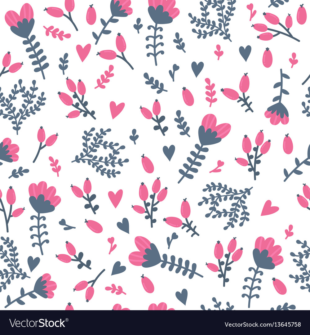Cute floral seamless pattern with berries spring vector image