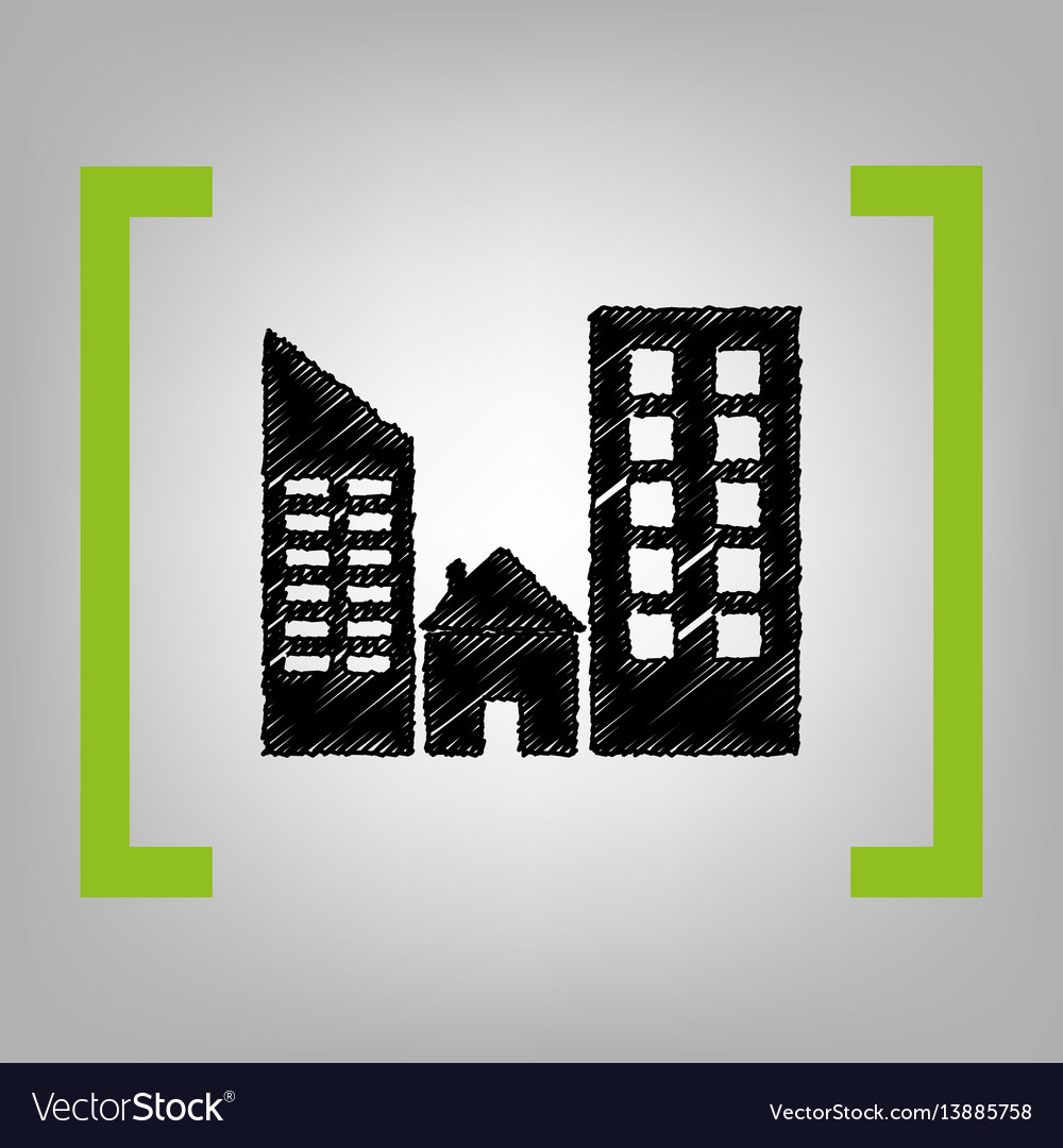 Real estate sign black scribble icon in vector image