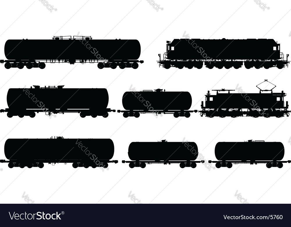 Railway silhouettes set vector image