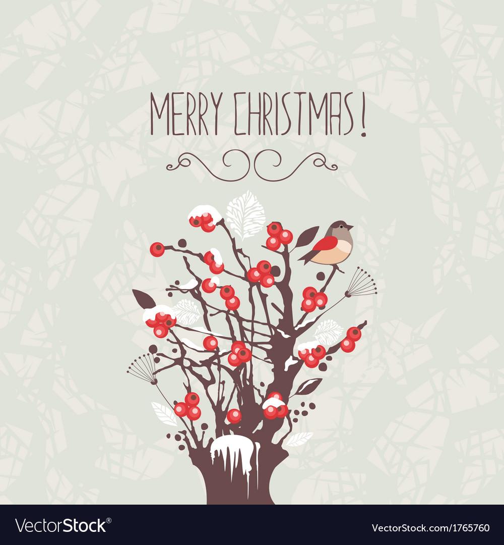 Christmas Winter Berries Shrub vector image