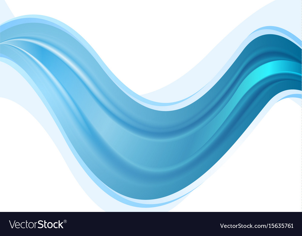 Bright blue abstract smooth waves background vector image