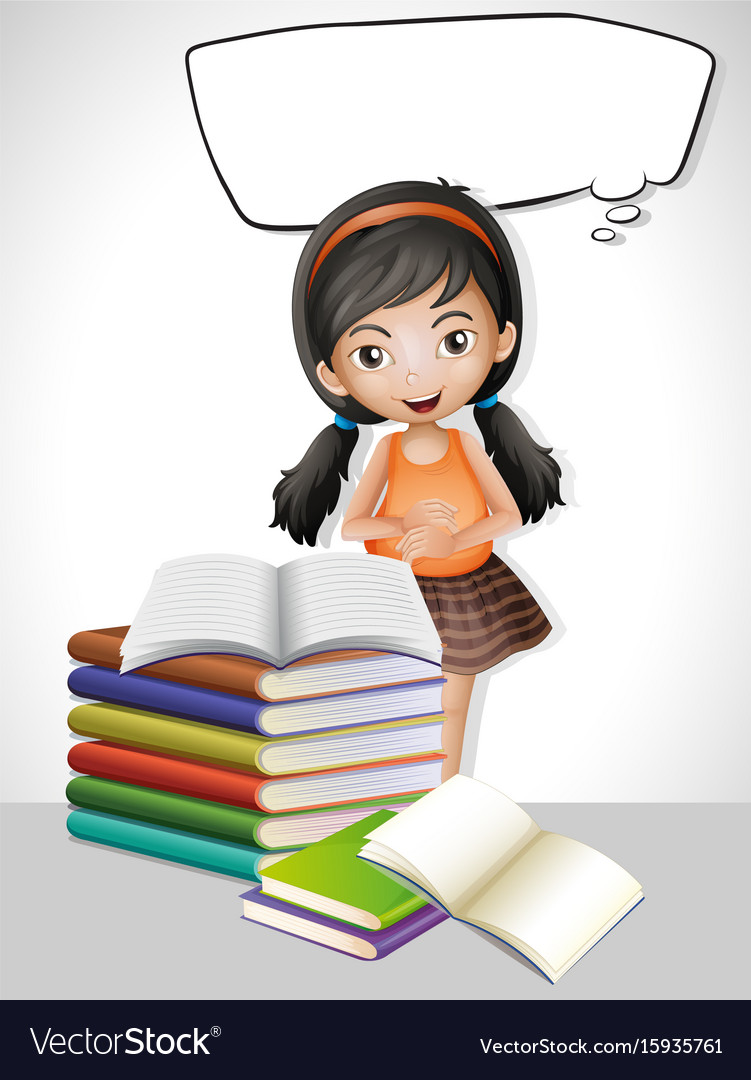 Speech bubble template with girl and books vector image