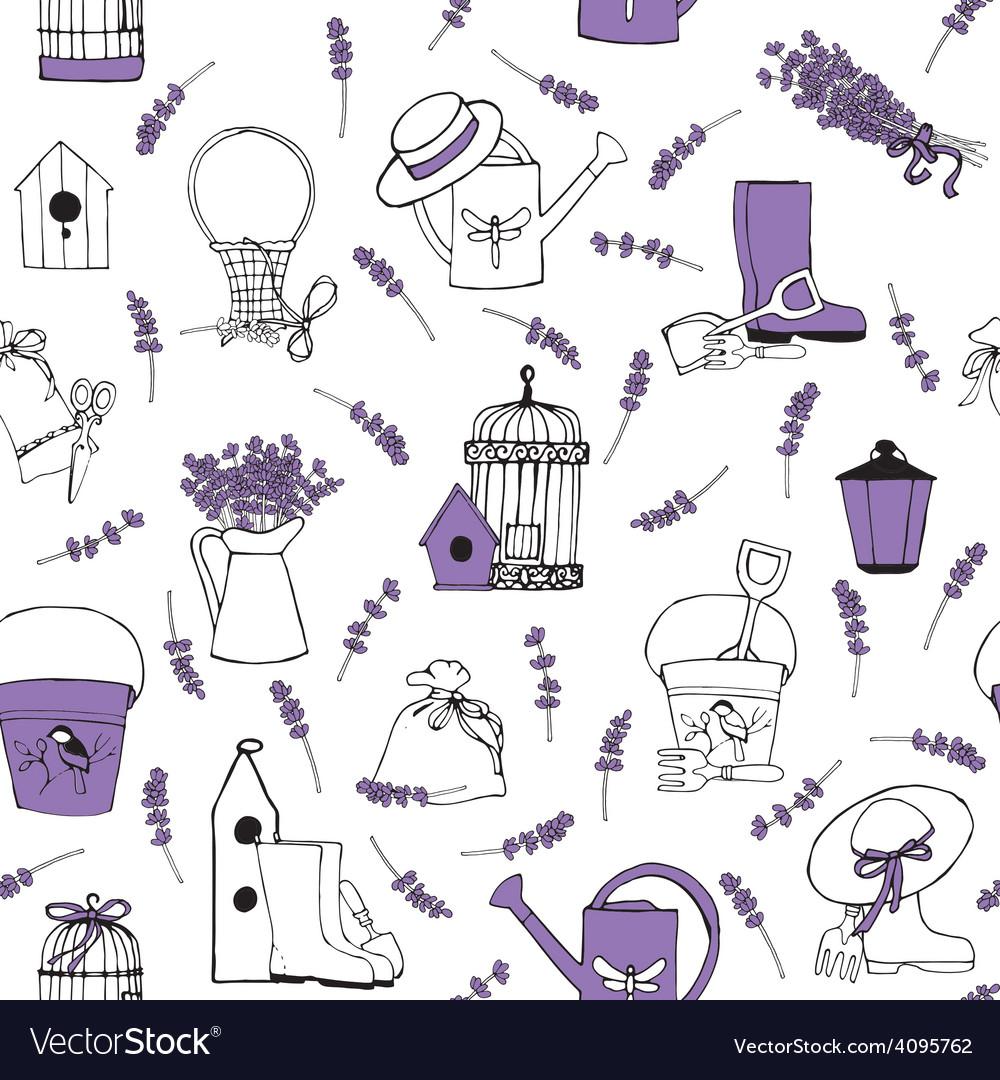 Seamless pattern lavender garden vector image