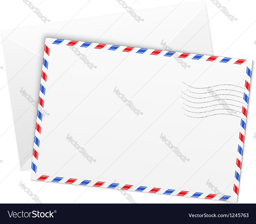 White paper airmail envelope vector image
