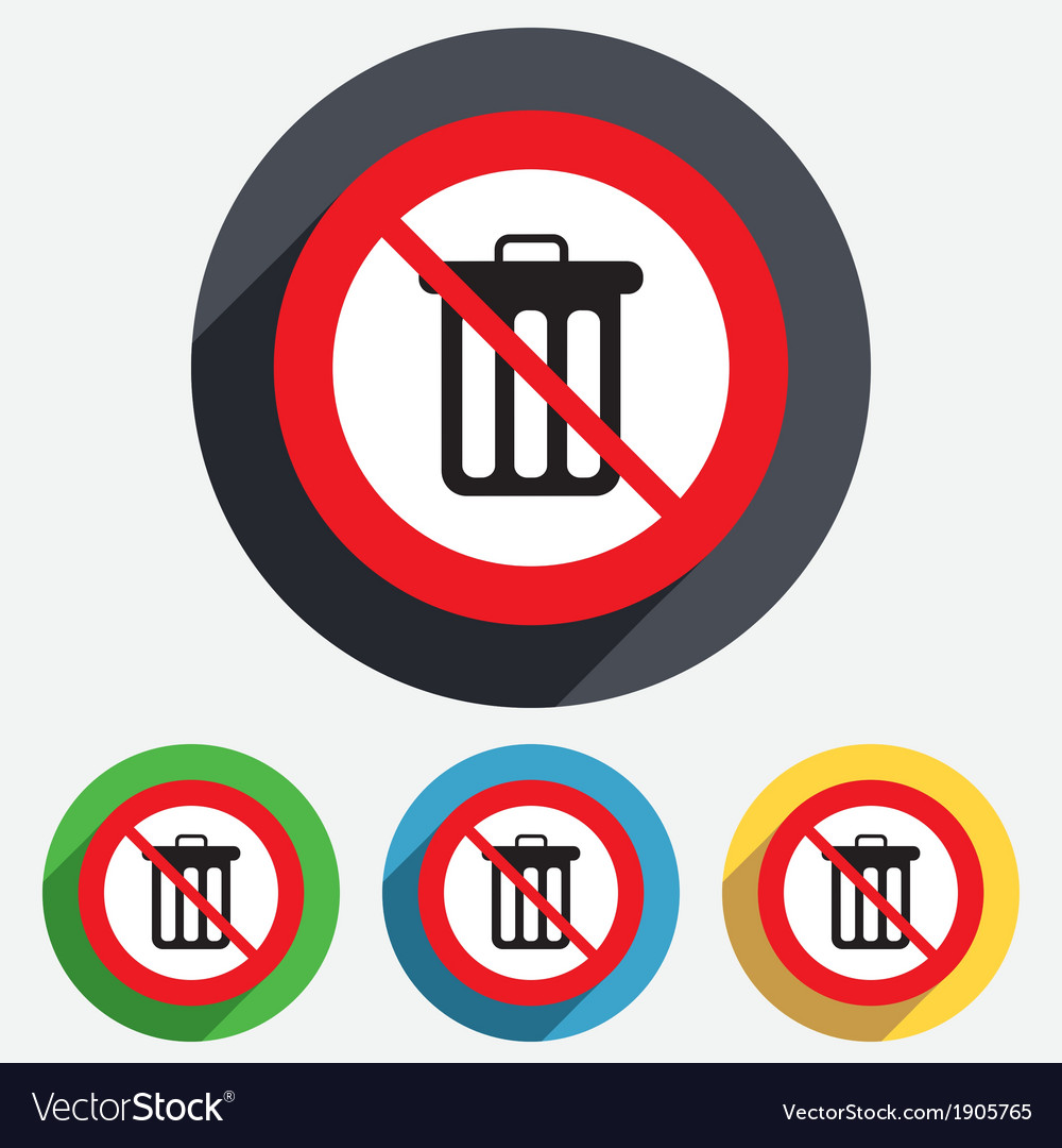 No Recycle bin sign icon Bin symbol vector image