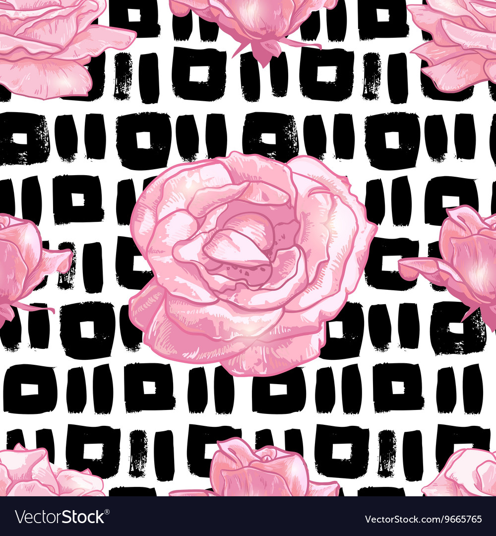 Seamless pattern with grunge background and roses vector image