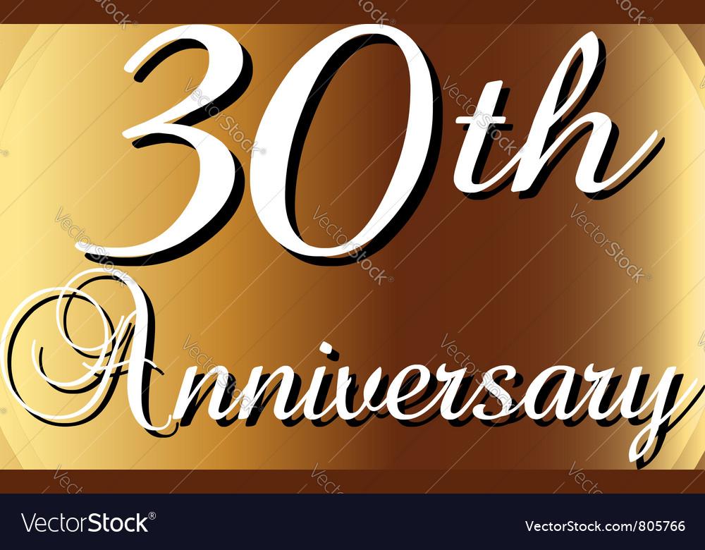 30th Anniversary ribbon vector image
