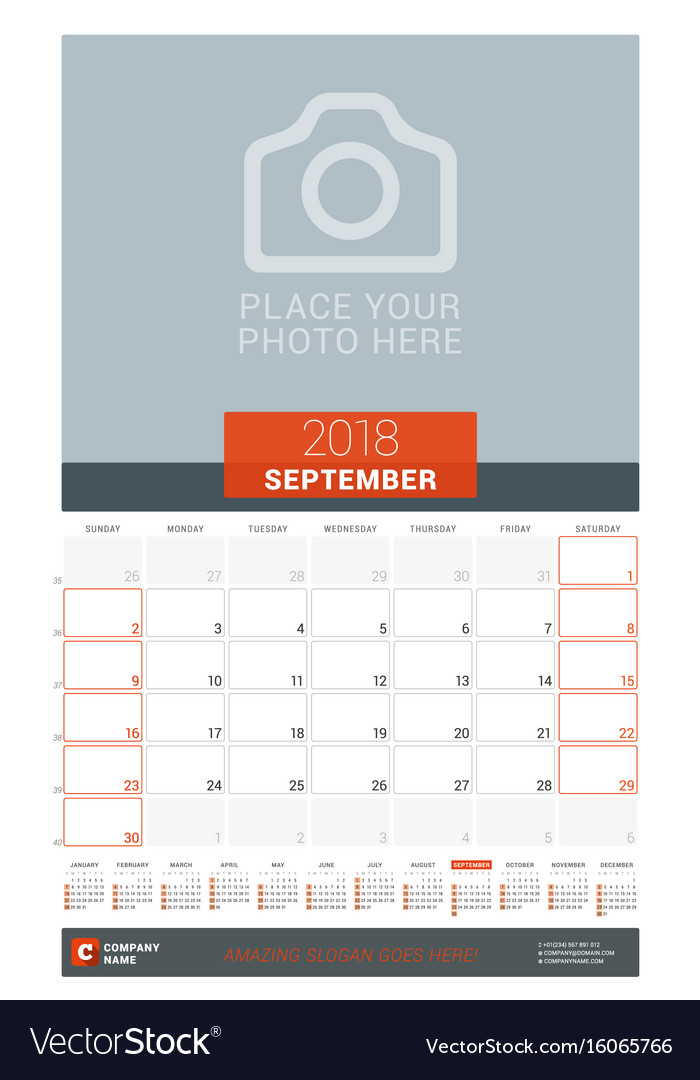 September  Wall Monthly Calendar Planner For Vector Image