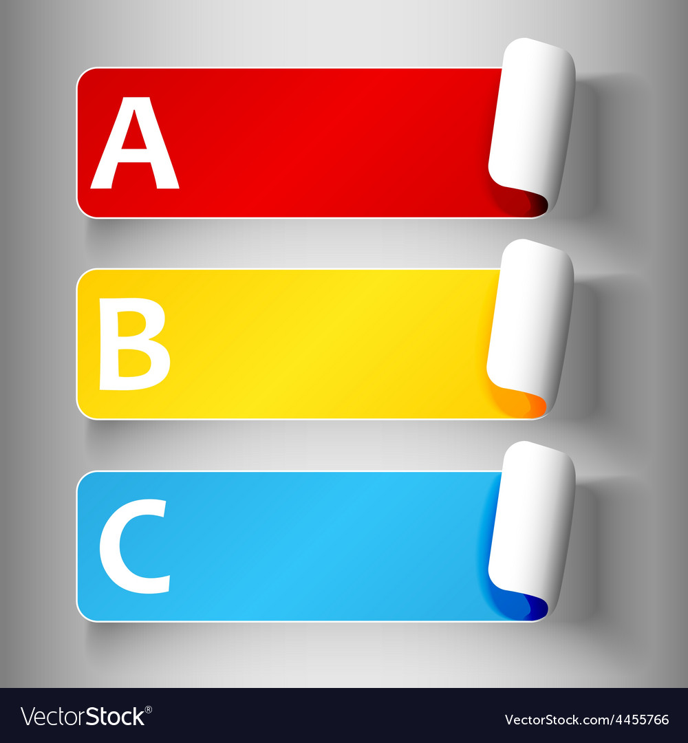 Set 1-peeling labels with letters vector image