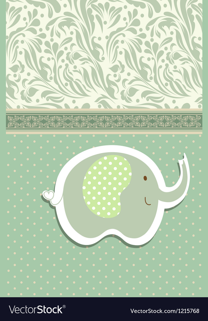Vintage doodle elephant for frame wallpaper Vector Image