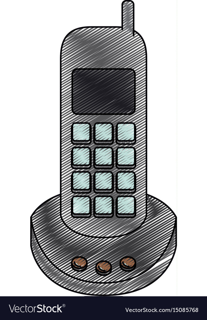Color crayon stripe silhouette of cordless phone vector image
