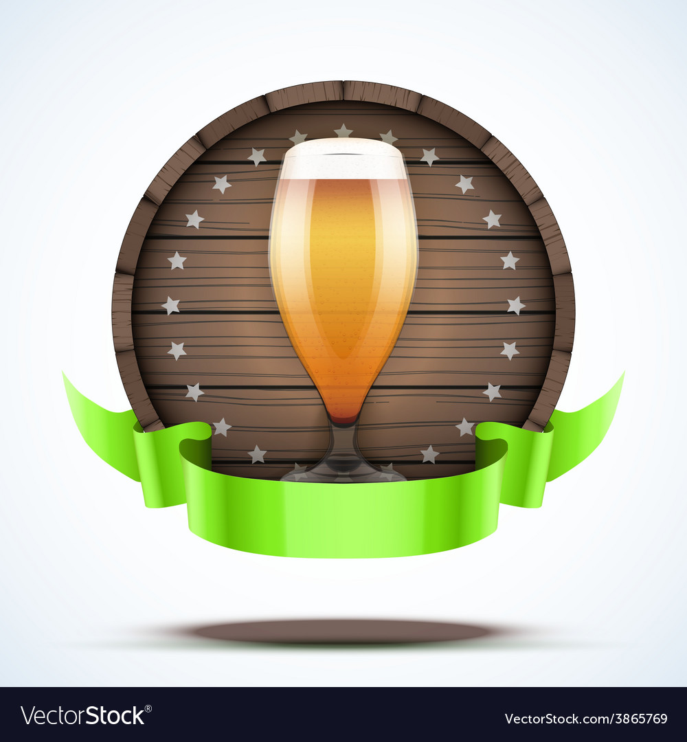 Label Beer barrel keg with beer glass and ribbon vector image