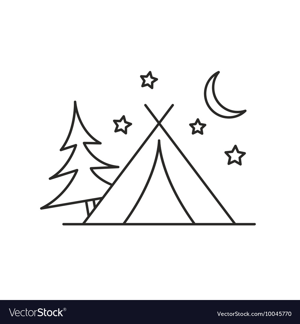 Camping tent icon outline Royalty Free Vector Image