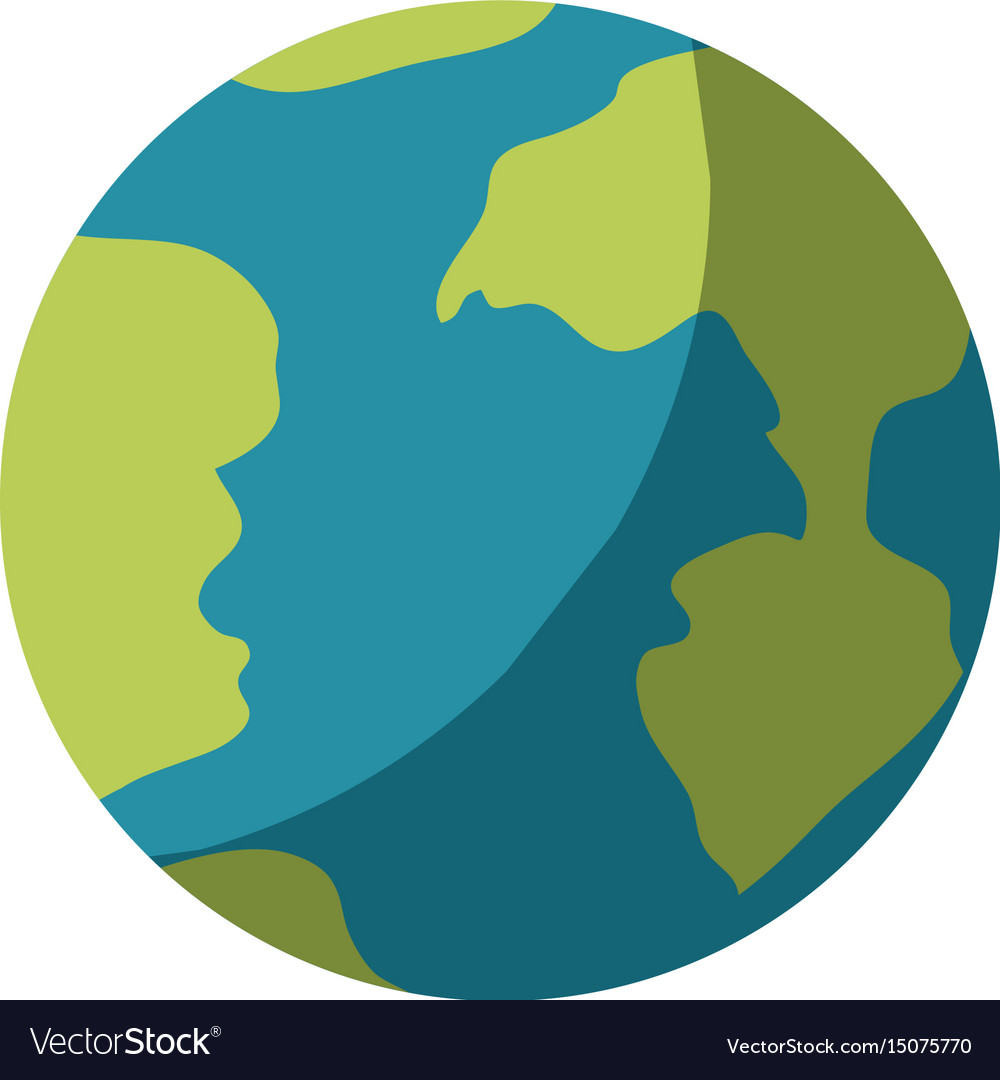 Colorful silhouette of earth globe icon without vector image