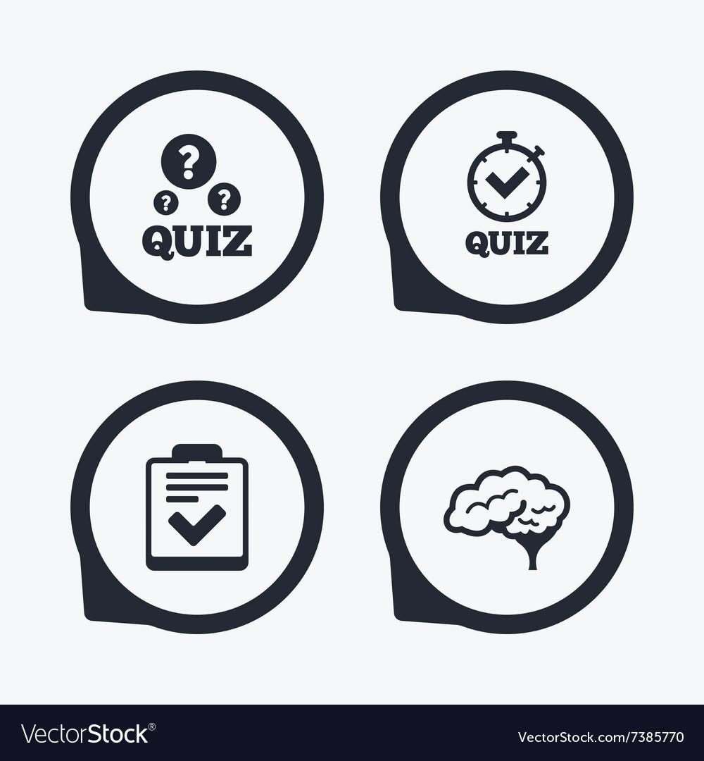 Quiz icons checklist and human brain symbols vector image biocorpaavc Images
