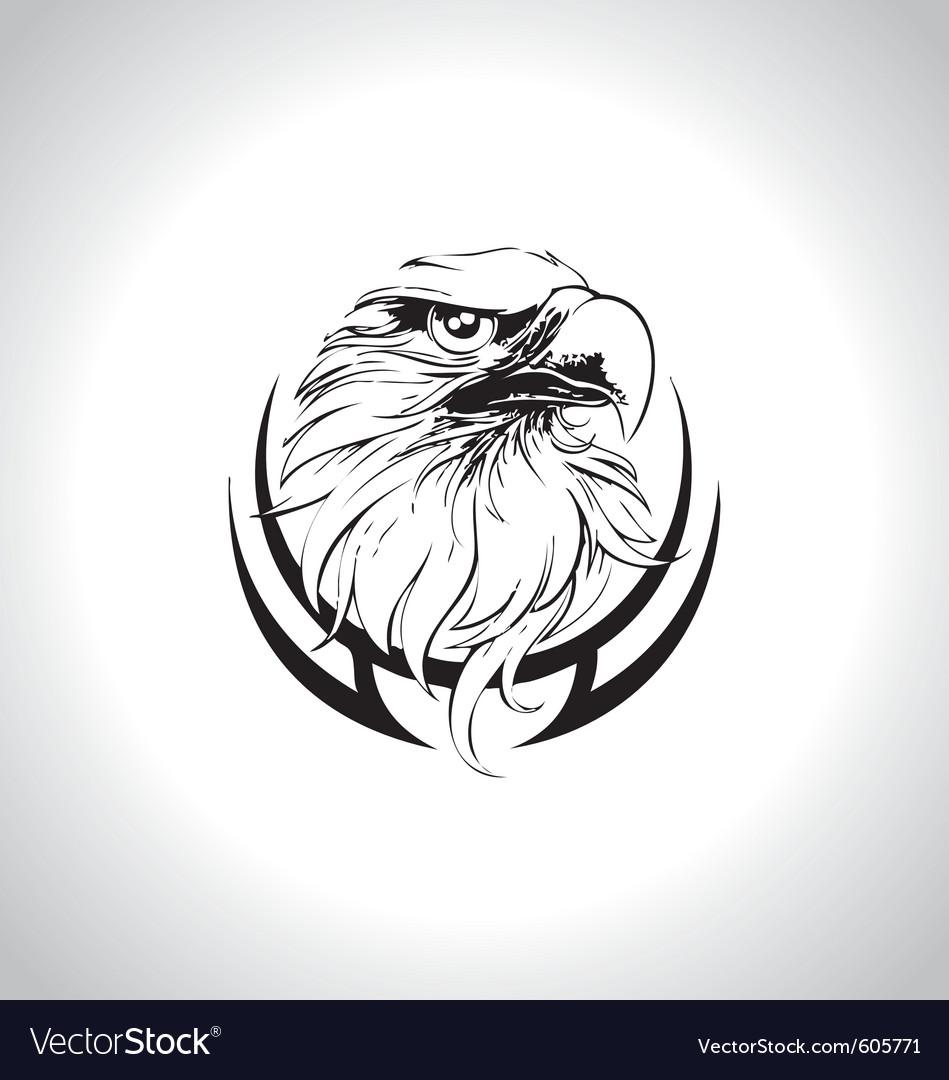 Eagle head line art vector image