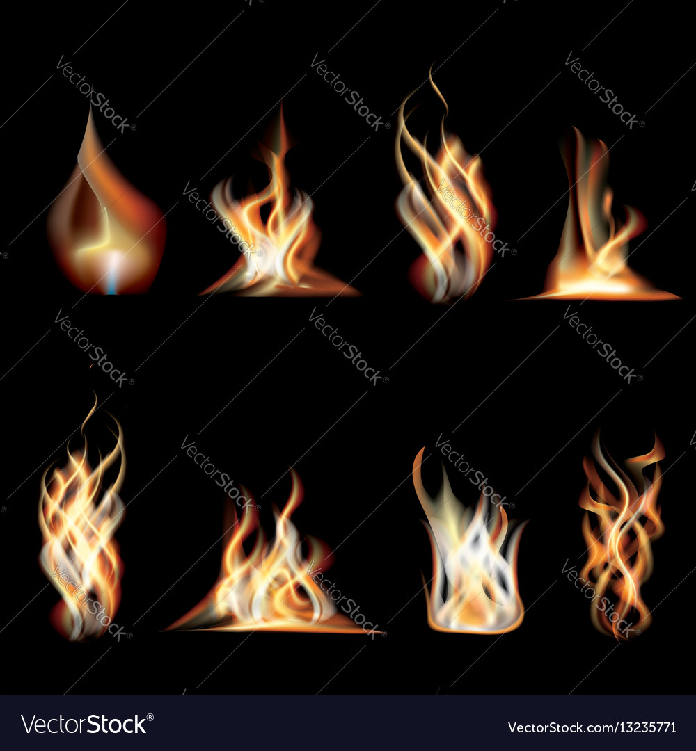 Realistic burning fire flames set vector image