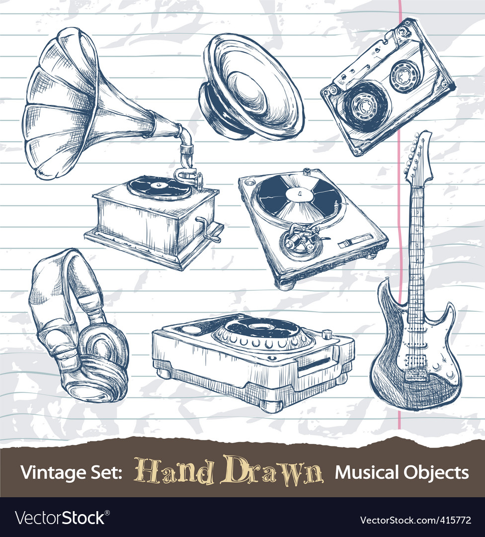 Hand drawn musical objects vector image